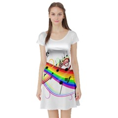 Color Music Notes Short Sleeve Skater Dress