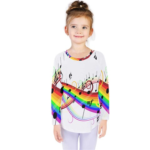 Color Music Notes Kids  Long Sleeve Tee by Alisyart