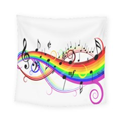 Color Music Notes Square Tapestry (small) by Alisyart