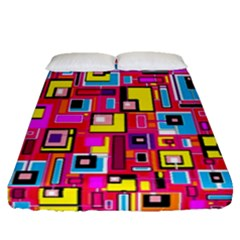 File Digital Disc Red Yellow Rainbow Fitted Sheet (queen Size)