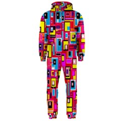 File Digital Disc Red Yellow Rainbow Hooded Jumpsuit (men)