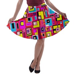 File Digital Disc Red Yellow Rainbow A Line Skater Skirt