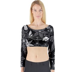 Floral Flower Rose Black Leafe Long Sleeve Crop Top by Alisyart