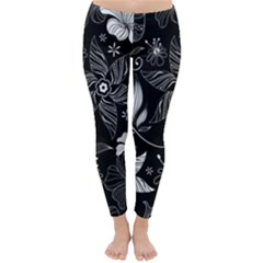 Floral Flower Rose Black Leafe Classic Winter Leggings