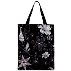 Floral Flower Rose Black Leafe Zipper Classic Tote Bag
