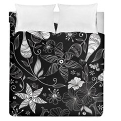 Floral Flower Rose Black Leafe Duvet Cover Double Side (queen Size)