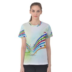 Color Musical Note Waves Women s Cotton Tee