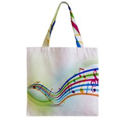 Color Musical Note Waves Grocery Tote Bag