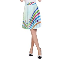 Color Musical Note Waves A Line Skirt