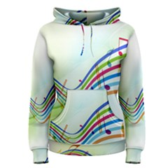 Color Musical Note Waves Women s Pullover Hoodie