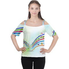 Color Musical Note Waves Women s Cutout Shoulder Tee