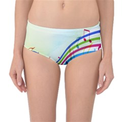 Color Musical Note Waves Mid Waist Bikini Bottoms