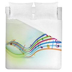 Color Musical Note Waves Duvet Cover (queen Size)