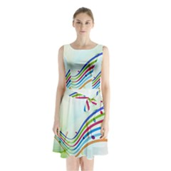 Color Musical Note Waves Sleeveless Chiffon Waist Tie Dress