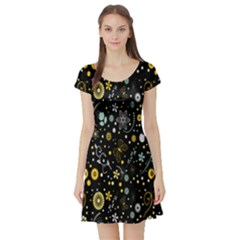 Floral And Butterfly Black Spring Short Sleeve Skater Dress