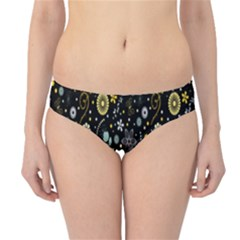 Floral And Butterfly Black Spring Hipster Bikini Bottoms