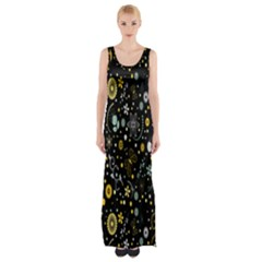 Floral And Butterfly Black Spring Maxi Thigh Split Dress by Alisyart