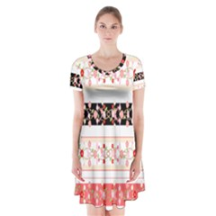 Flower Arrangements Season Floral Rose Pink Black Short Sleeve V Neck Flare Dress