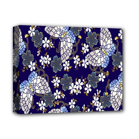Butterfly Iron Chains Blue Purple Animals White Fly Floral Flower Deluxe Canvas 14  X 11  by Alisyart