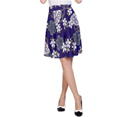 Butterfly Iron Chains Blue Purple Animals White Fly Floral Flower A Line Skirt