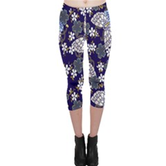 Butterfly Iron Chains Blue Purple Animals White Fly Floral Flower Capri Leggings