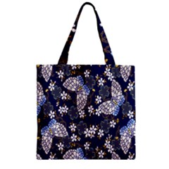 Butterfly Iron Chains Blue Purple Animals White Fly Floral Flower Zipper Grocery Tote Bag