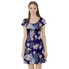 Butterfly Iron Chains Blue Purple Animals White Fly Floral Flower Short Sleeve Skater Dress