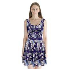 Butterfly Iron Chains Blue Purple Animals White Fly Floral Flower Split Back Mini Dress