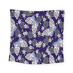 Butterfly Iron Chains Blue Purple Animals White Fly Floral Flower Square Tapestry (small)