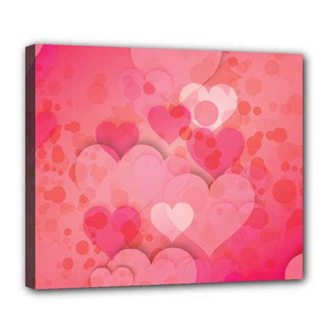 Hearts Pink Background Deluxe Canvas 24  X 20   by Amaryn4rt