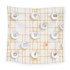 Icon Media Social Network Square Tapestry (large) by Amaryn4rt