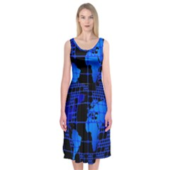 Network Networking Europe Asia Midi Sleeveless Dress by Amaryn4rt