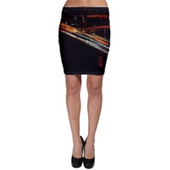 Highway Night Lighthouse Car Fast Bodycon Skirt by Amaryn4rt