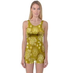Flower Arrangements Season Gold One Piece Boyleg Swimsuit