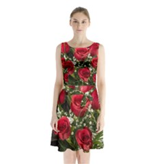 Red Roses Roses Red Flower Love Sleeveless Chiffon Waist Tie Dress by Amaryn4rt