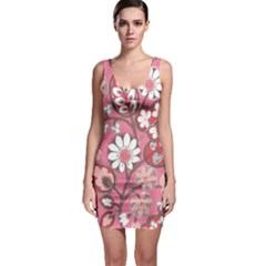 Flower Floral Red Blush Pink Sleeveless Bodycon Dress by Alisyart