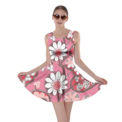 Flower Floral Red Blush Pink Skater Dress by Alisyart