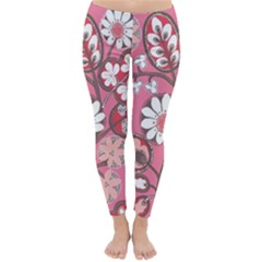 Flower Floral Red Blush Pink Classic Winter Leggings