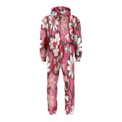 Flower Floral Red Blush Pink Hooded Jumpsuit (kids)