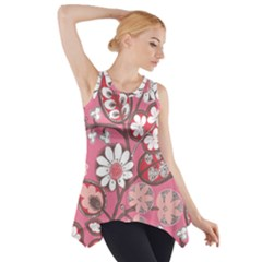 Flower Floral Red Blush Pink Side Drop Tank Tunic