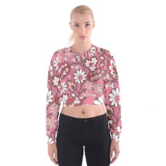 Flower Floral Red Blush Pink Women s Cropped Sweatshirt by Alisyart