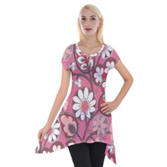 Flower Floral Red Blush Pink Short Sleeve Side Drop Tunic by Alisyart