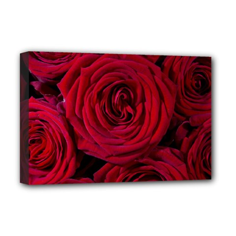 Roses Flowers Red Forest Bloom Deluxe Canvas 18  x 12