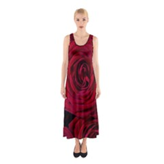 Roses Flowers Red Forest Bloom Sleeveless Maxi Dress