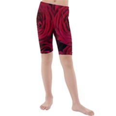 Roses Flowers Red Forest Bloom Kids  Mid Length Swim Shorts