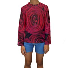 Roses Flowers Red Forest Bloom Kids  Long Sleeve Swimwear