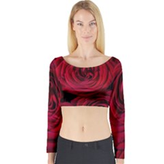 Roses Flowers Red Forest Bloom Long Sleeve Crop Top