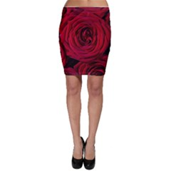 Roses Flowers Red Forest Bloom Bodycon Skirt