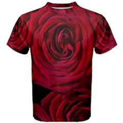 Roses Flowers Red Forest Bloom Men s Cotton Tee