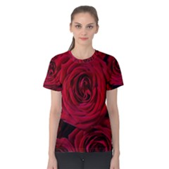 Roses Flowers Red Forest Bloom Women s Cotton Tee